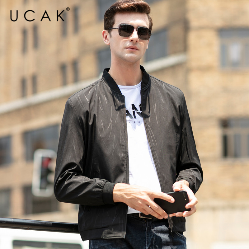 UCAK Brand Jacket Men Free Shipping Solid Zipper Jackets 2020 New Fashion Polyester Chaquetas Hombre Clothes Free Shipping U8043
