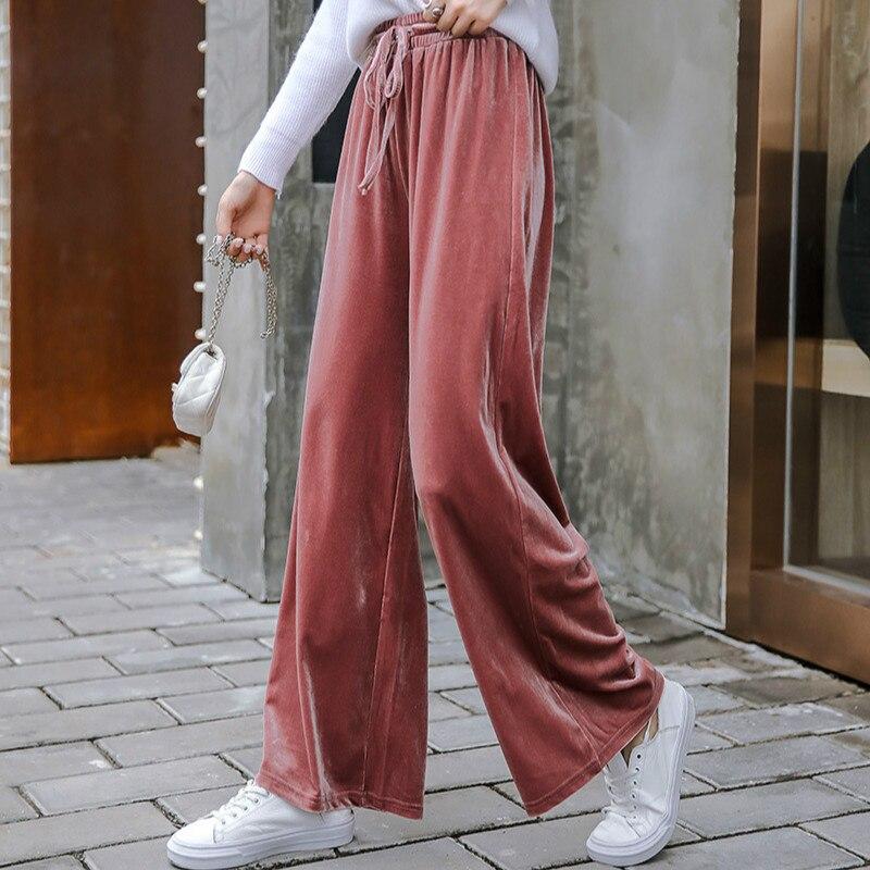 Elastic High Waist Wide Leg Pants Women Ankle Length Pants Winter Autumn Pleuche Trousers Casual Loose Velvet Bell Bottom Pant