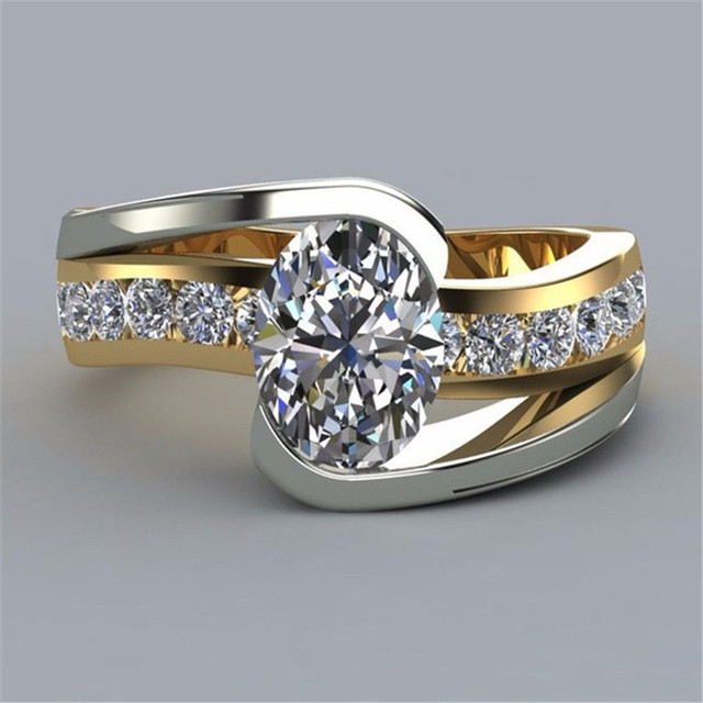 Crystal Zircon Ring Luxury Fashion Gold Color 925 Silver Promise Engagement 4