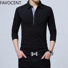 Рубашка поло мужская с длинным рукавом, хлопок, Повседневная приталенная, однотонная, уличная одежда, большие размеры