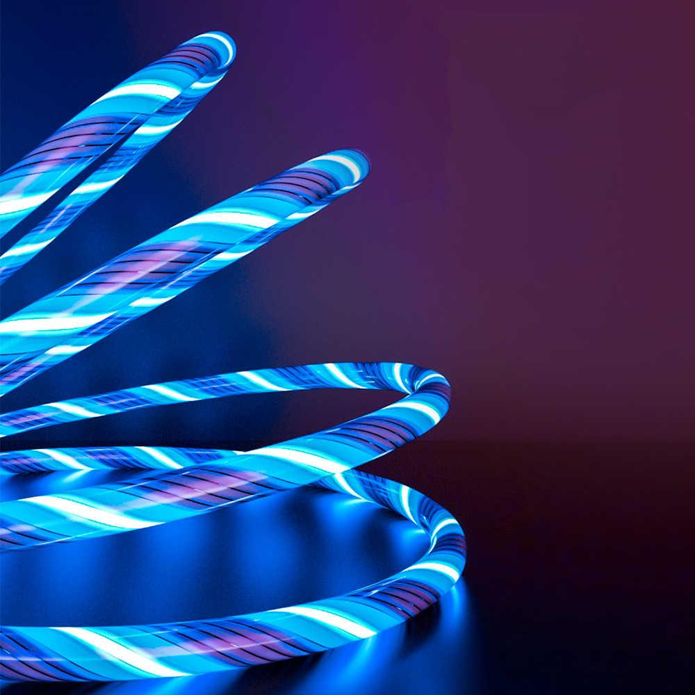3A يتدفق ضوء LED كابل مغناطيسي المصغّر USB نوع C كابل شحن سريع كابل بيانات 5A لكابلات الهاتف TYPE-C USB-C