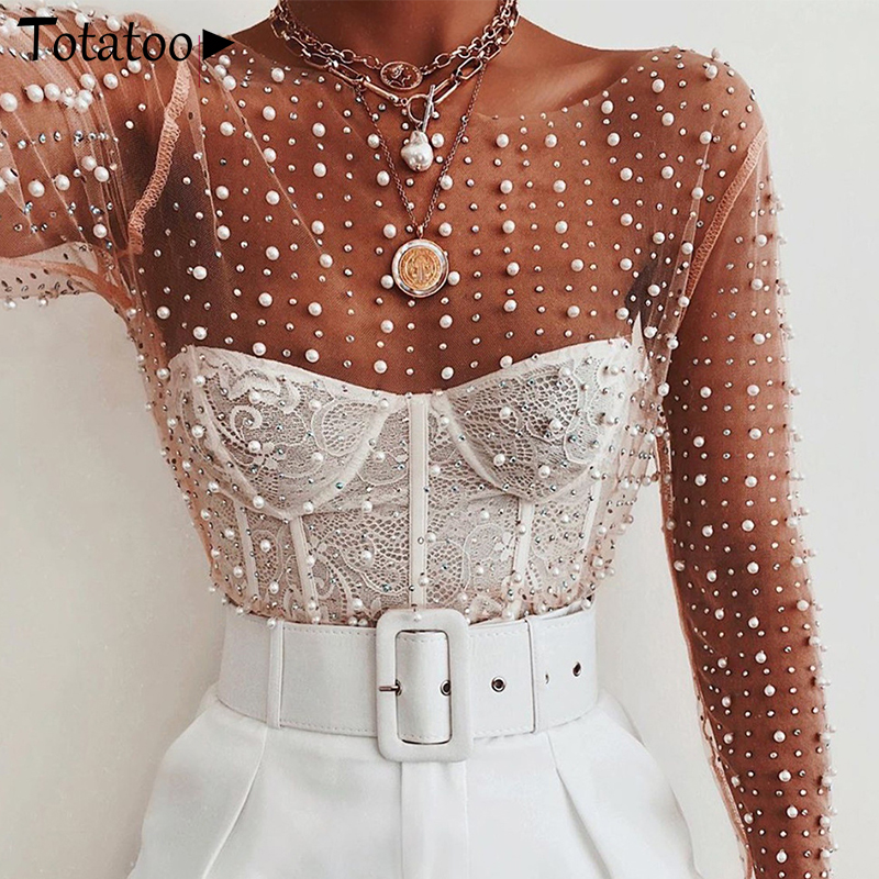 Totatop Diamond Sparkle Sheer Pearl Blouse Shirts Women 2020 Summer Sexy See Through Blouse Tops Night Club Party Mesh Blusas