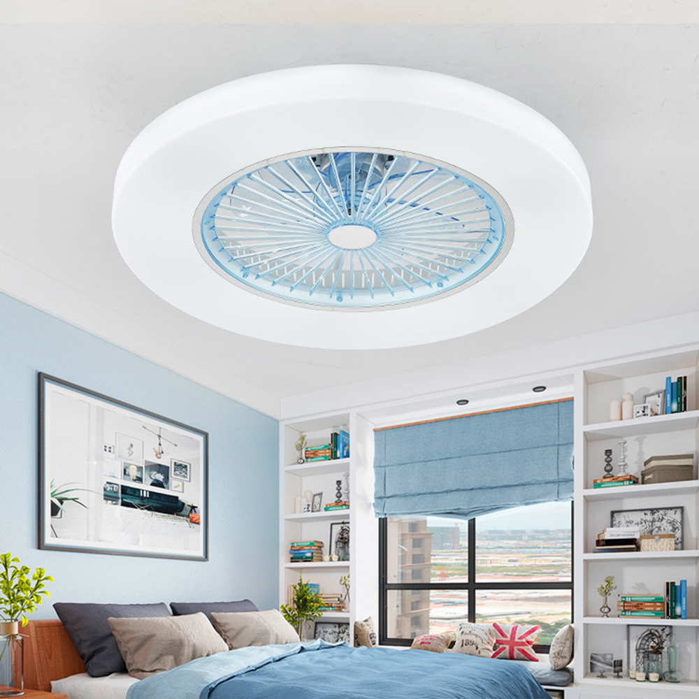 LED ceiling Fans lamp with dimming remote control Invisible Leaves 58cm light modern home decoration Luminaire APP Control|Ceiling Fans| |  - title=