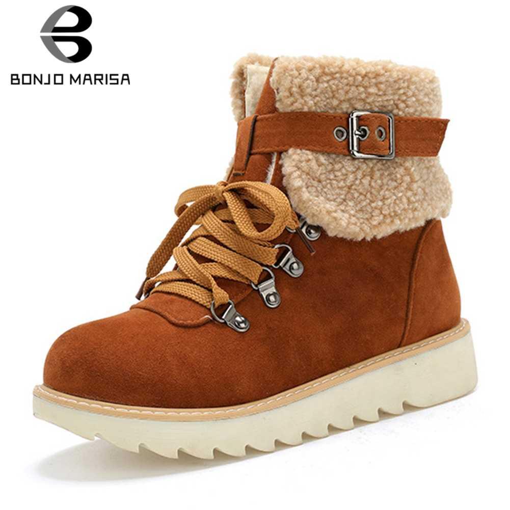 BONJOMARISA Yeni Sıcak Satış Kış Süper Sıcak Kar Botları Kadın 2019 kaymaz Platform Patik Casual Takozlar Ayakkabı Kadın 34-43