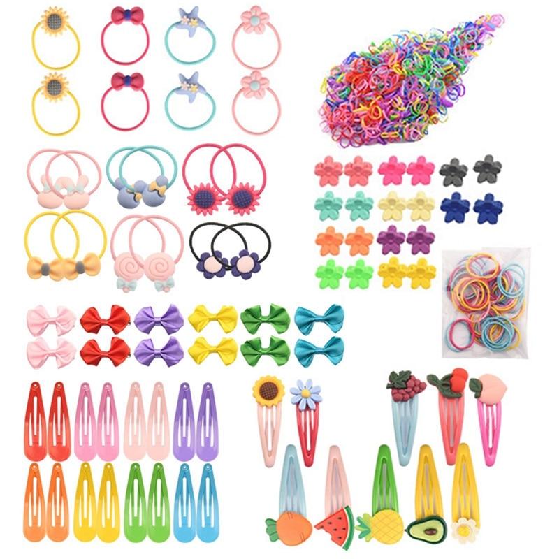 628PCS New Cute Elastic Hair Clips For Sweet Girls Handmade Hairpins Boutique Barrettes Headwear Kids Hair Accessories Hot
