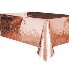 137*274 см водонепроницаемый Розовый Золотой Стол Крышка Рождественское украшение одноразовая посуда Горячая золотистая скатерть Свадебная дорожка