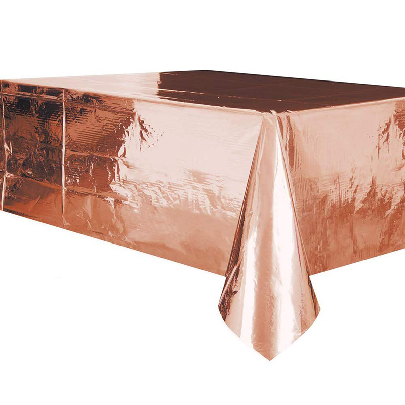 137*274cm New Waterproof Rose Gold Table Cover Christmas Decoration Disposable Tableware Hot Gold Tablecloth Wedding Rug