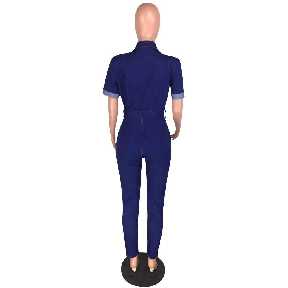 Yooneedi 2019 automne conception décontracté femmes Denim combinaisons couleur solide col rabattu à manches courtes dames Denim barboteuse WYNZ-8219