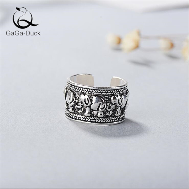 New Creative Cute Animal 925 Sterling Silver Retro Jewelry Ethnic Style Elephant Thai Silver Popular Opening Rings R439