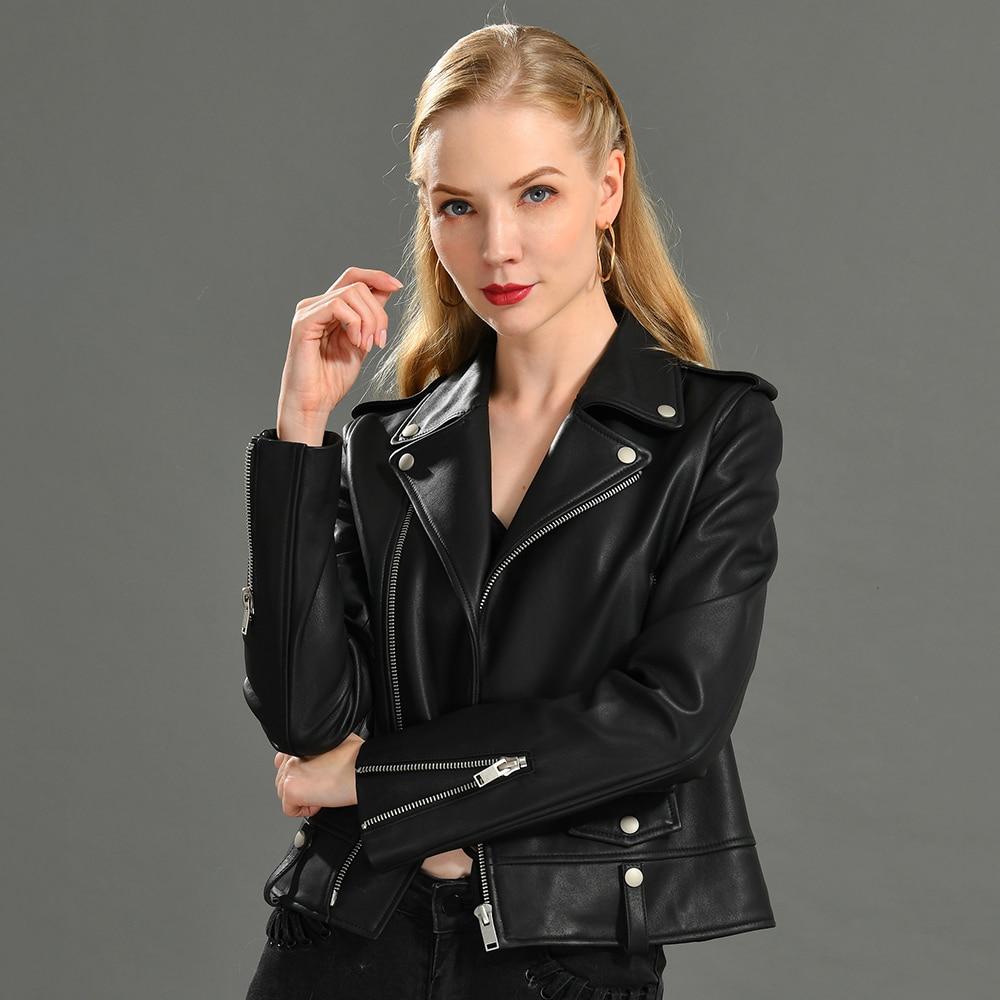 Spring Genuine Leather Jacket Women 2019 Fashion Real Sheepskin Coat Rivet Motorcycle Biker Jacket Female Sheep Leather Coat 1