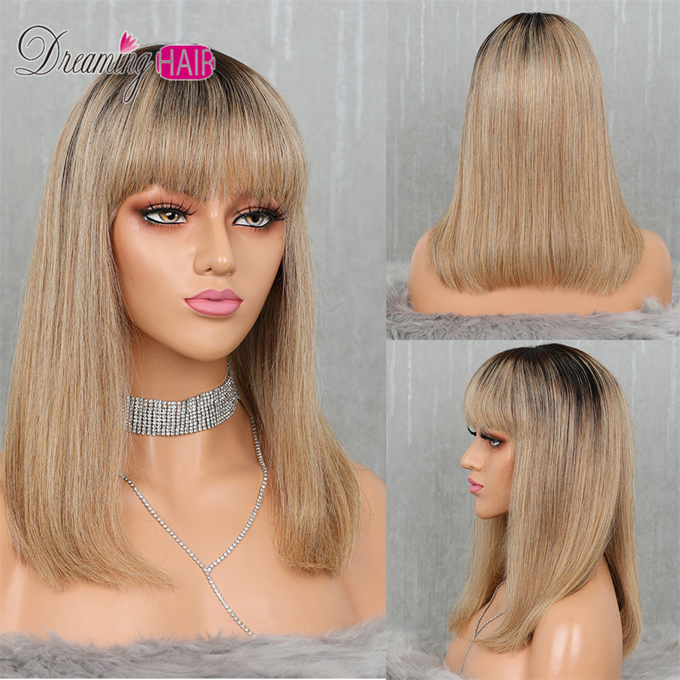 1B 27 Ombre Color Bob Cut Lace Front Short Human Hair Wigs With Bangs Pre Plucked Brazilian Remy Straight Hair For Women