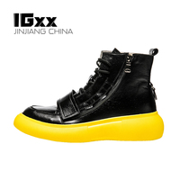 IGxx High top Shoes Zip Lace up Leather Men's Sneakers Punk Ankle Boots For Men Basketball Hook&Loop Shoes Black