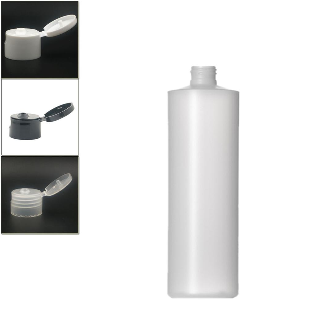 500ml Empty Plastic Soft  Bottle , HDPE Cylinder Round With Black/white/transparent Flip Top Cap