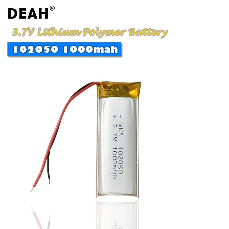 Bateria recarregável do polímero do lítio das células 3.7 102050 mah de 1-4 pces 1000 v lipo para o instrumento claro conduzido da beleza da pena da gravação de mp3 gps
