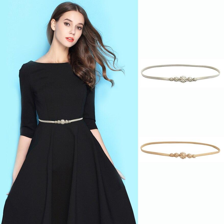 Adjustable Women Lady Metal Leaves Elastic Waist Dress Belt Strap Waistband Prom