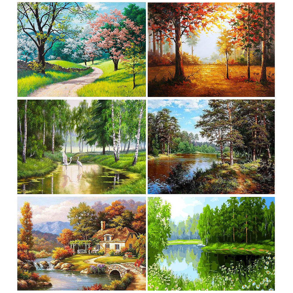 GATYZTORY DIY Painting By Numbers Landscape Tree Oil Painting Home Decor HandPainted Canvas Drawing Gift