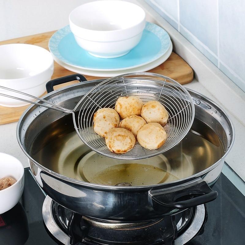 1PCS Stainless Steel Colander Fried Oil Filter Strainer Spoon Household Kitchen Pasta Spoon Dumpling Filter Kitchen Gadgets