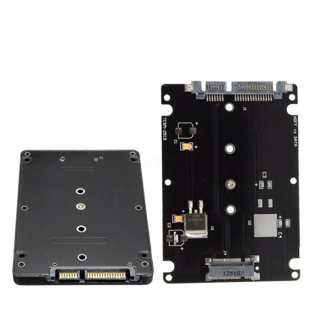 Caja del adaptador del convertidor B + M Socket 2 m2 NGFF (SATA) SSD a 2,5 adaptador de tarjeta SATA con caja negra