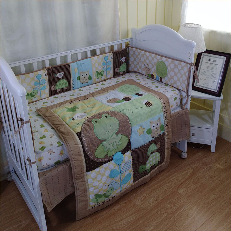 100% Cotton 6Pcs/Set Baby Bedding Set Crib Diaper Bag Crib Cover Bed Bumper Baby Blanket Cartoon Pattern Baby Bedding