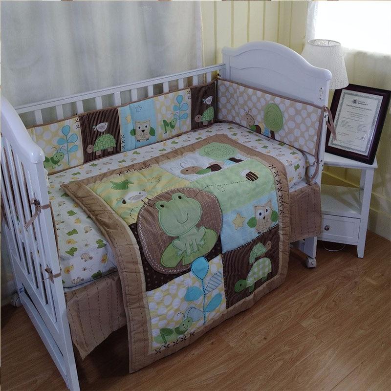 100% Cotton 6Pcs/Set Baby Bedding Set Crib Diaper Bag Crib Cover Bed Bumper Baby Blanket Cartoon Pattern Baby Bedding