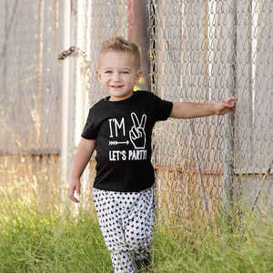 Kids 2nd Birthday Tshirt I'm Two Let's Party Print Funny Toddler Boys Girls T-shirts Short Sleeve Fashion Children Party T-shirt