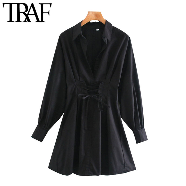 TRAF Women Chic Fashion With Drawstring Tied Pleated Mini Dress Vintage Long Sleeve Back Zipper Female Dresses Mujer 2