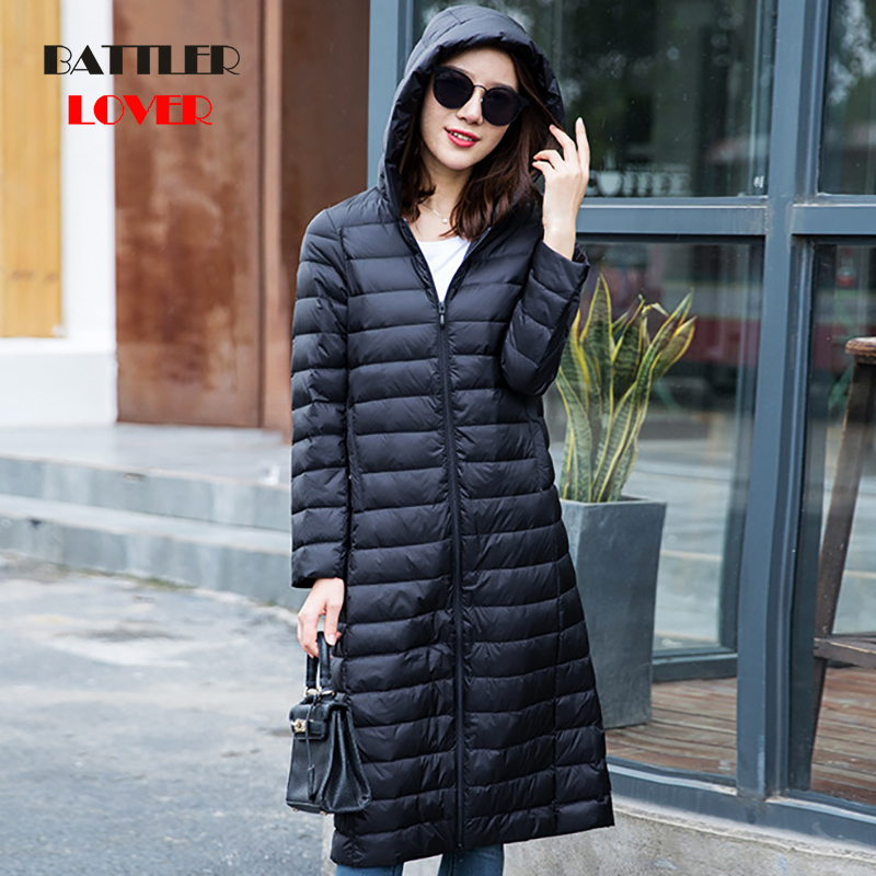 2019 Winter Women 90% White Duck Down Parka Candy Color Soft Jackets Women Long Duck Down Jacket Outwear Ultralight Hooded Coats