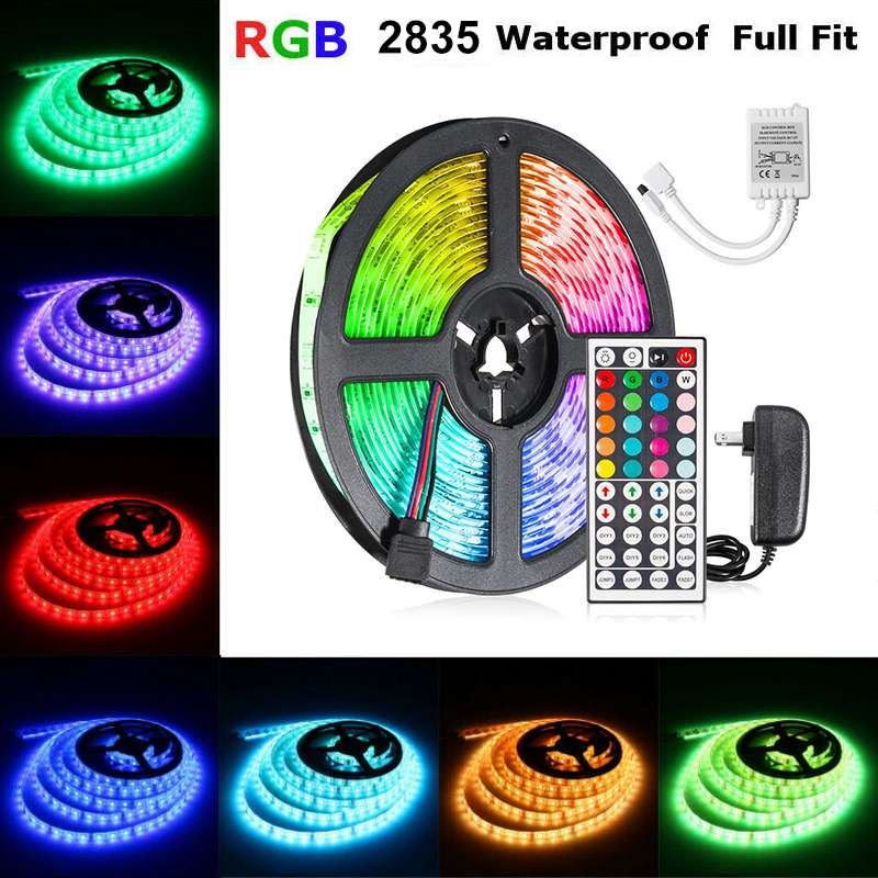 Professional 5 Meter 300Leds Waterproof RGB Led Strip Light 2835 DC12V 60Leds/M Flexible Lighting Ribbon Tape 16/20 Color Strip