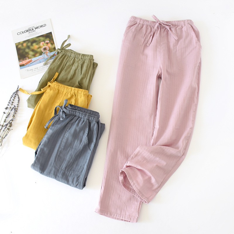Spring And Summer Pure Cotton Double Gauze Household Pants Solid Sleep Pants Length Long Pajama Bottom Lounge Length Sleep Wear