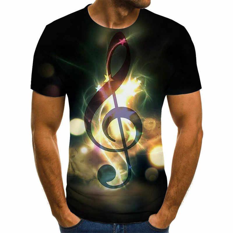 2020 del nuovo Mens 3d Chitarra Stampato di Modo Maniche Corte T Shirt Quotidiano Manica Corta Tee Maglietta Femminile Psichedelico Vestiti