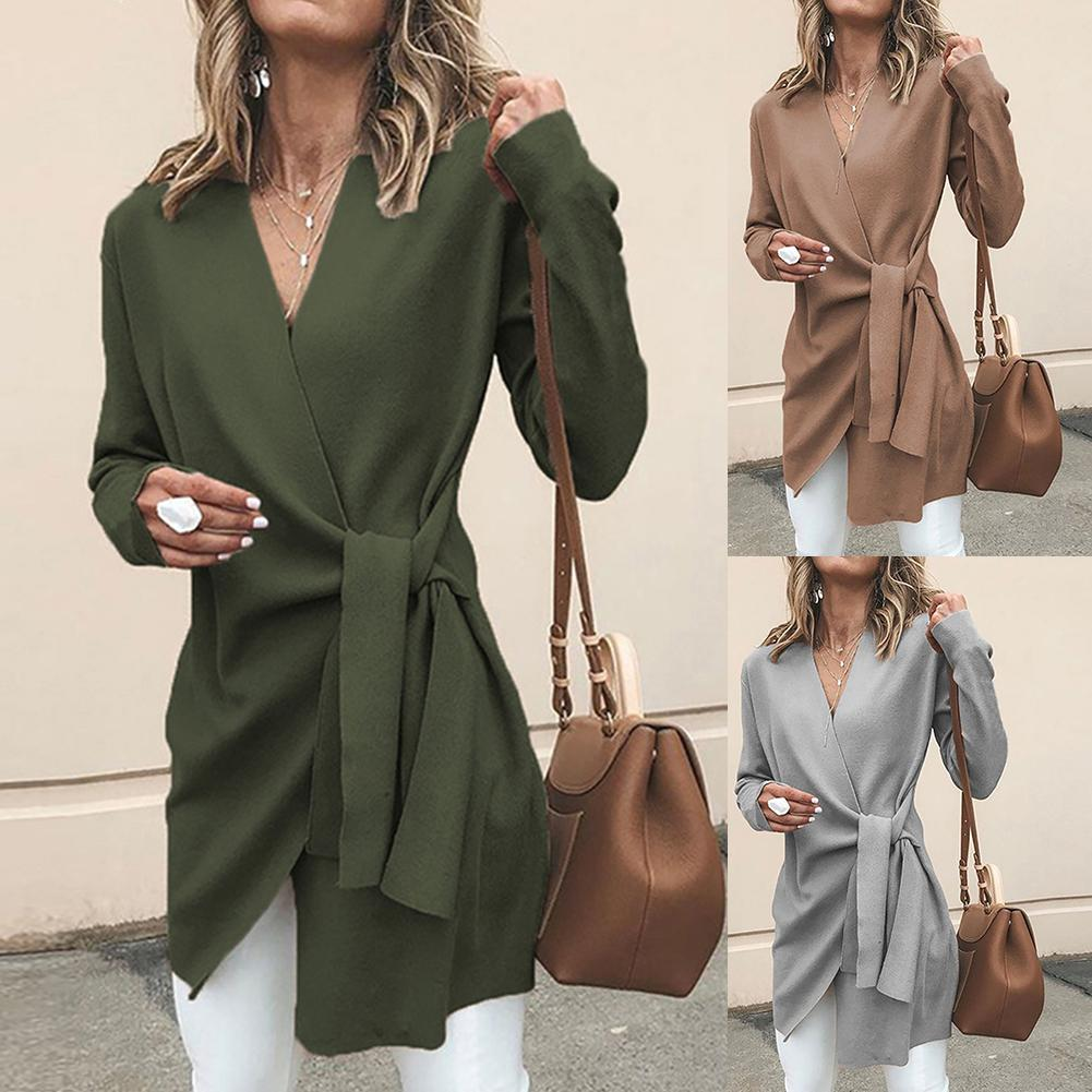2020 Chic Women Solid Color V Neck Long Sleeve Waist Knotted Casual Knitted Coat Cotton Slim Waist Knotted Office Women's Coat