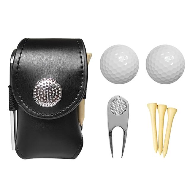 Outdoor Golf Ball Leather Bags Mini Pocket Golf Bag Holder with 2 Balls 3 Tees 1 Golf Divot Repair Tool Set Golf Equipment 2
