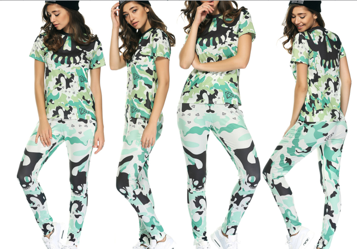 Hot Selling Europe And America Fashion Leisure Sports Suit Summer WOMEN'S Dress Camouflage Suit
