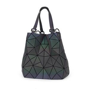 Image 4 - Flower poetry Bao Bag Women Luminous Bucket Bag Geometry Diamond Shoulder Bags Casual Folding Handbags Ladies Messenger Bags