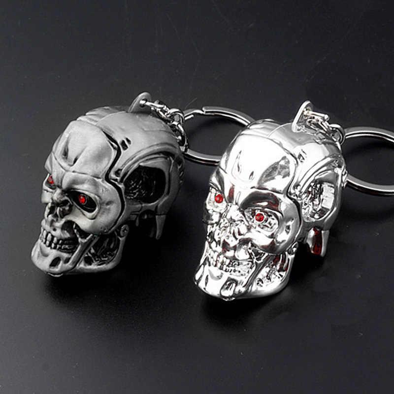 2019 film Terminator brelok fajne Punk 3D czaszki głowy kształt brelok brelok ze stopu metali terroru Punisher czaszka breloki uchwyt na