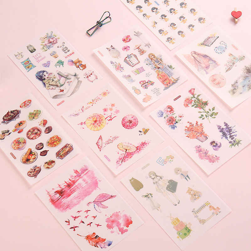 6PCs Creative Cartoon Anime Sticker Fresh Plant Flower Album Diary Decorative Sticker Scrapbooking Notebook Journal Label Decor