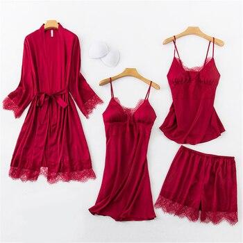 4PCS Lace Pajamas Set Womens Sleep Wear Pijama Spring Sexy Kimono Robe Gown Suit Nightwear Cami Pants Home Clothes Negligee фото