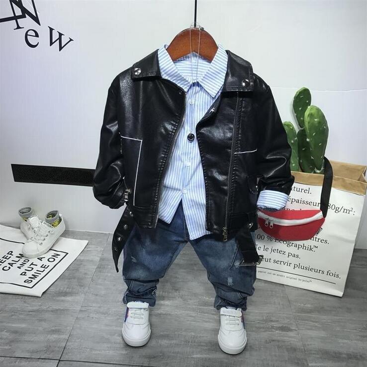 spring autumn Children Clothes Set Baby Boys Clothing Set boys Faux leather coat + shirts+ jeans Kids suit Boy 3pcs set 2-6years
