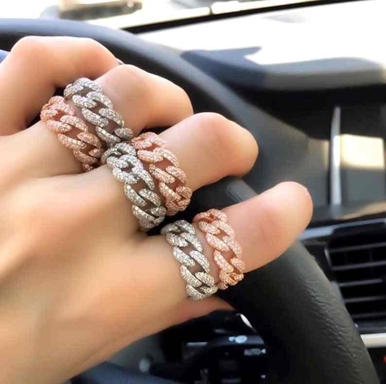 2019 złoty wypełniony Hiphop mody iced out iskrzenie cz obrączki dla kobiet mężczyzn trendy ograniczenia Miami kubański link łańcuch biżuteria na palce