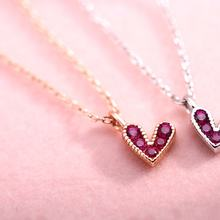 Women Heart Pendant Necklace Fashion Exquisite Korean Jewelry Lovely Mini Red Cubic Zircon Thin Link Chain for Girlfriend Gifts(China)