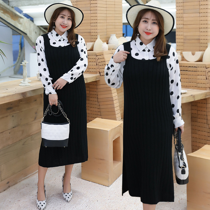 [Xuan Chen] Large GIRL'S 2019 Autumn New Products Large Size Dress Knitted Piece Polka Dot Set 200 T001