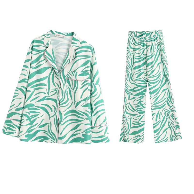 2020 NEW Summer Spring Women 2 Pieces Set White Green Printed Full Sleeve Blouse Long Pants Suit Female Casual Woman Clothes