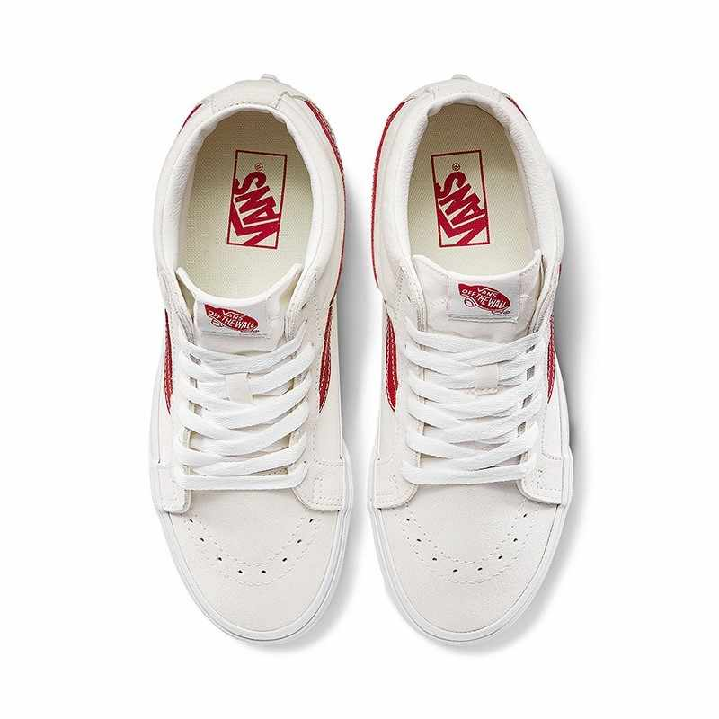 VANS SK8 MID Men's and Women's Skateboarding Shoes Classic High Top White Canvas Shoe Couples Fashion Street Style VN0A391FOXS