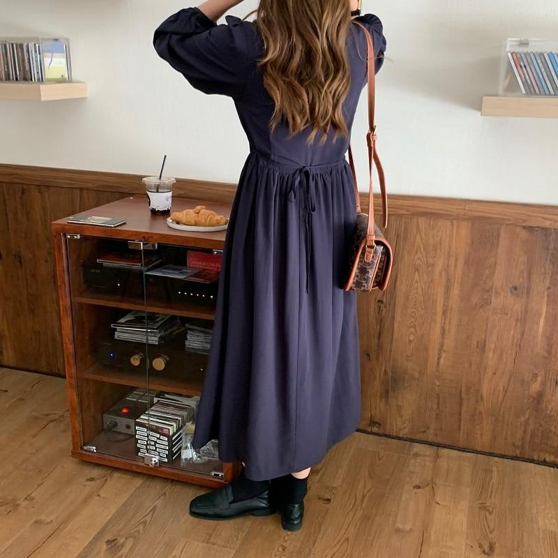 H5cb76508d1904cdb802b9be6052adb95F - Autumn V-neck Long Sleeves Pleated Waist-Controlled Solid Loose Dress