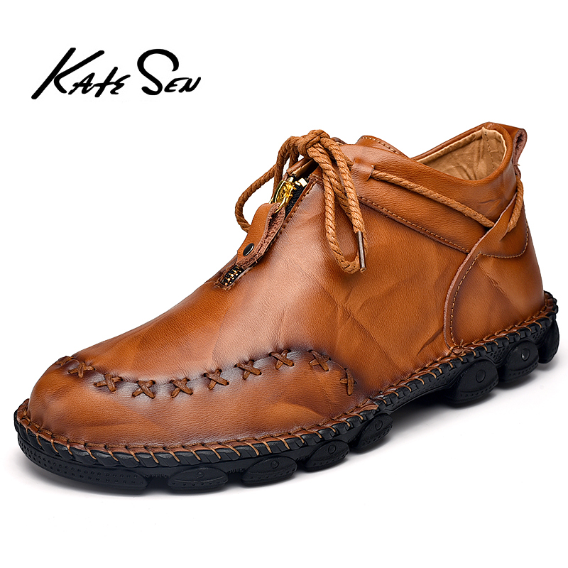 KATESEN Men Shoes Fashion High Tops Genuine Leather Shoes Male Handmade Shoes Mens Casual Loafers Retro Lace Up Flats Shoes