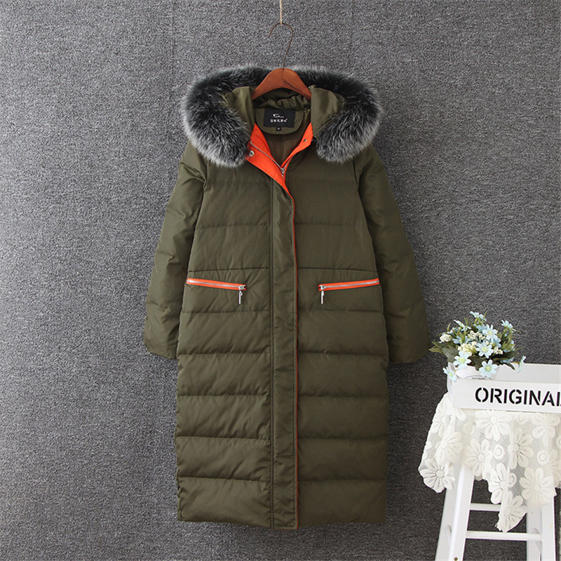 Duck White Women's Down Jackets Fox Fur Collar Coat Female Winter Jacket Women Hooded Thick Parka Chaquetas Mujer WXF461