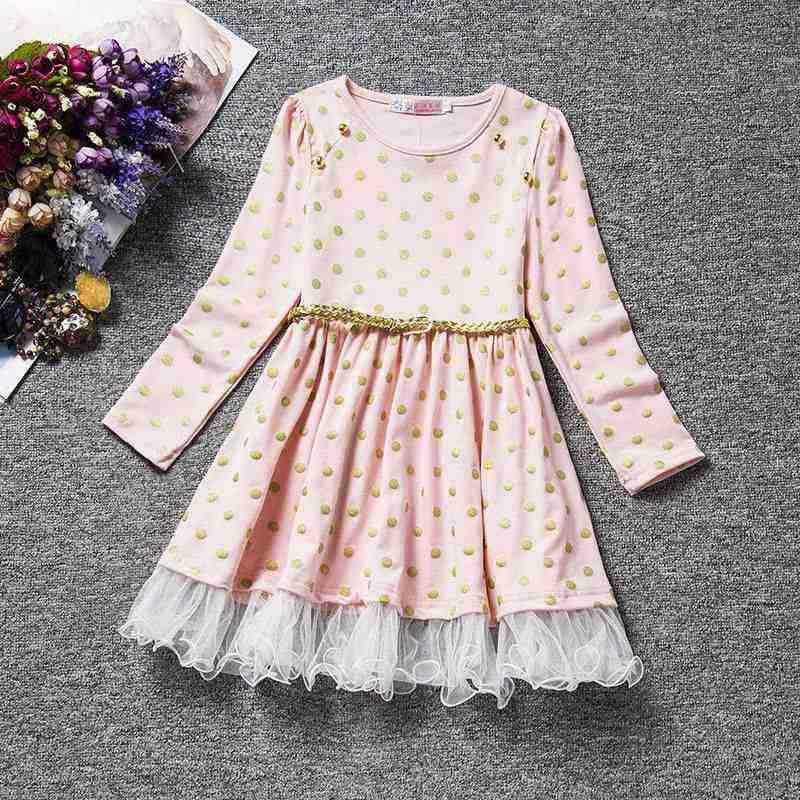 Mới 2019 Bé Gái Chấm Bi Váy Đầm Vestidos Trẻ Em Đảng Thường Ngày Tutu Áo Dài Tay Trẻ Em Mùa Thu Đông Áo