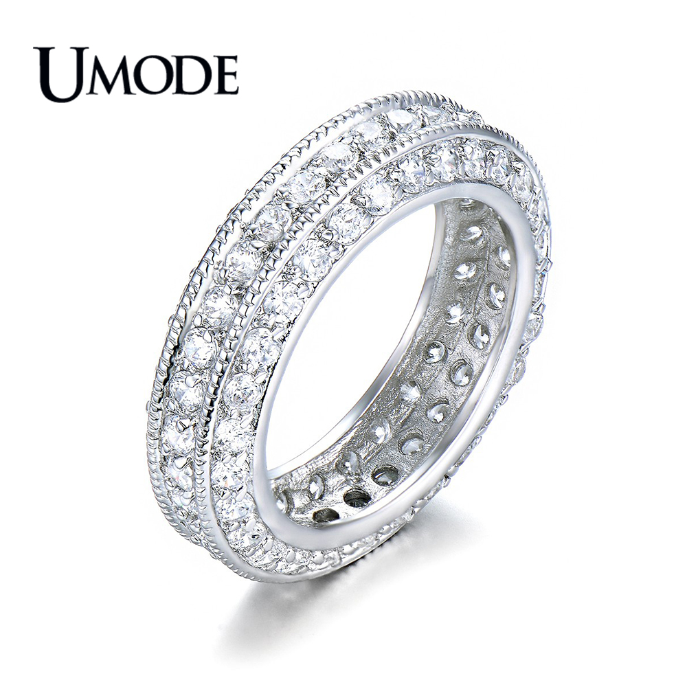 It is just a photo of US $44.447 44% OFFUMODE Brand Fashion Anel Antique Eternity Rings For Women Jewelry White Gold Color Top CZ Wedding Bands Bague Femme Gift