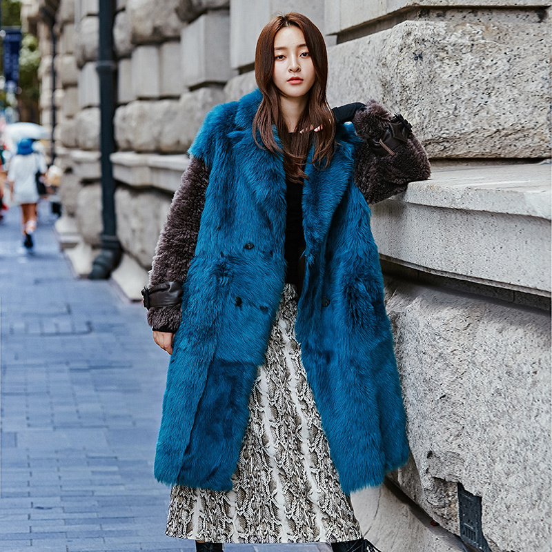 Natural Real Fur Coat Female 100% Wool Jacket Winter Coat Women Clothes 2020 Korean Fashion Vintage Double-faced Fur Tops 19026