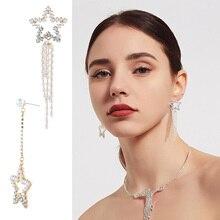 Fashion personality wild pearl Drop Earrings five-pointed star long stars tassel Dangle Earrings female Jewelry